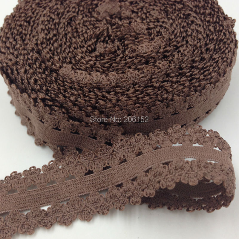 """10yards/Lot 7/8"""" Picot Edged Stretch Lace, Frilly Edges Elastic Webbing, Lace for Headwear L25 Brown(China (Mainland))"""
