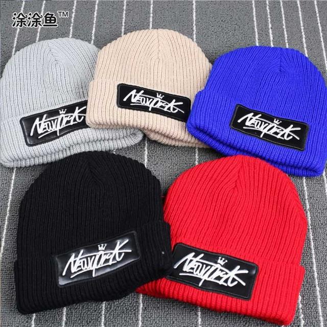 Стиль кепка девочки-младенцы / мальчики шляпы дети трикотаж шляпа, Надписи нью-йорк зима вязка крючком шляпа для девочки