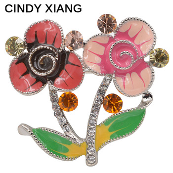 CINDY XIANG Enamel Flower Pins For Women CZ Rhinestone Brooches Summer Dress Broches Backpack Badges Bijouterie High Qaulity
