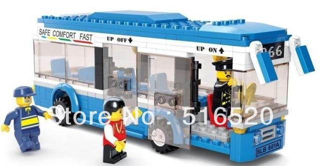 Sluban City Bus Building Block Sets 235pcs Enlighten Educational DIY Construction Bricks toys for children B0330(China (Mainland))