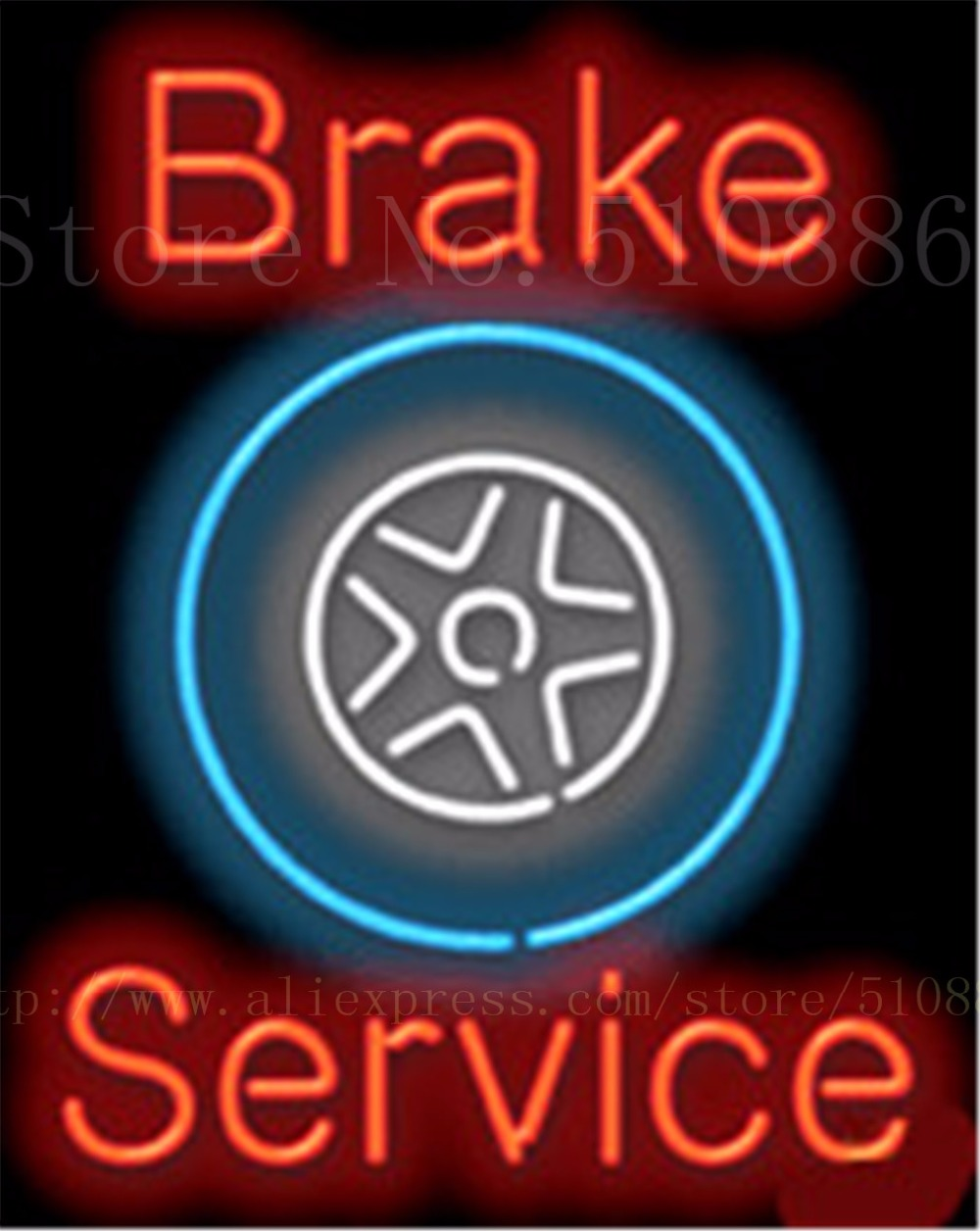 "Brake Service Auto Car Repair Real Tube Car neon sign Beer Handcrafted Automotive signs Shop Store Business Signboard 19""x15""(China (Mainland))"