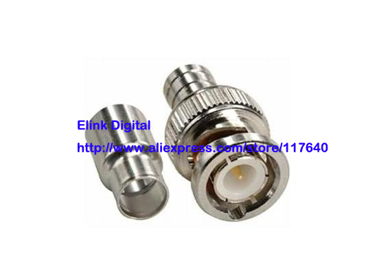 Free Shipping/2Sets/High Quality  BNC Male Crimp-On Connector, 2 piece set, RG59 (Coaxial Cable) New