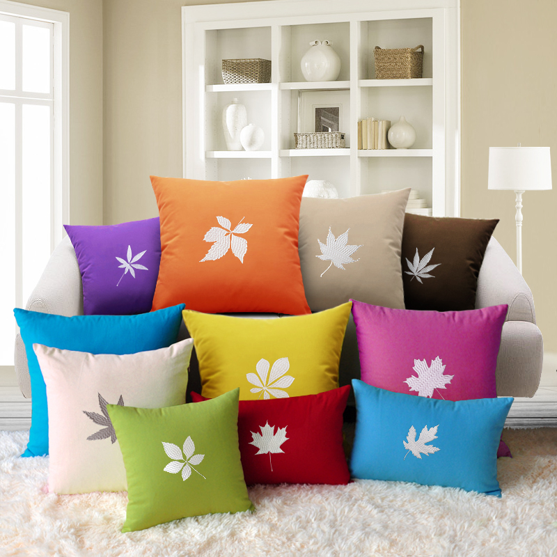Xi Lu 's car headrest pillow cushions embroidered flower pillow cover excluding the core of modern large solid sofa cushions(China (Mainland))