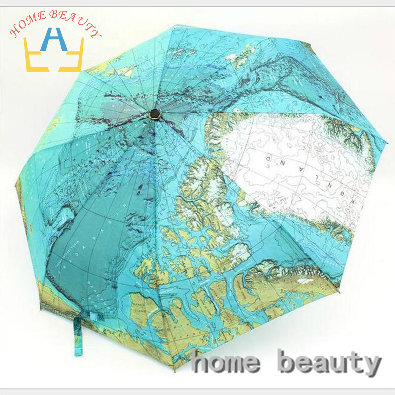 8K 3 folding fully-automatic rain umbrellas cheap high quality map parasol rain tools women men's umbrella from the rain FH202(China (Mainland))