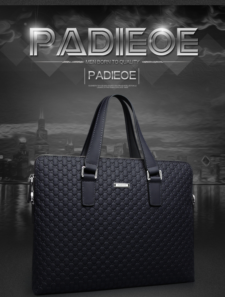 Famous Brand Padieoeo Business Briefcase Handbag Men Shoulder Bags Genuine Leather Cowhide Messenger Bag Men's Travel Laptop Bag