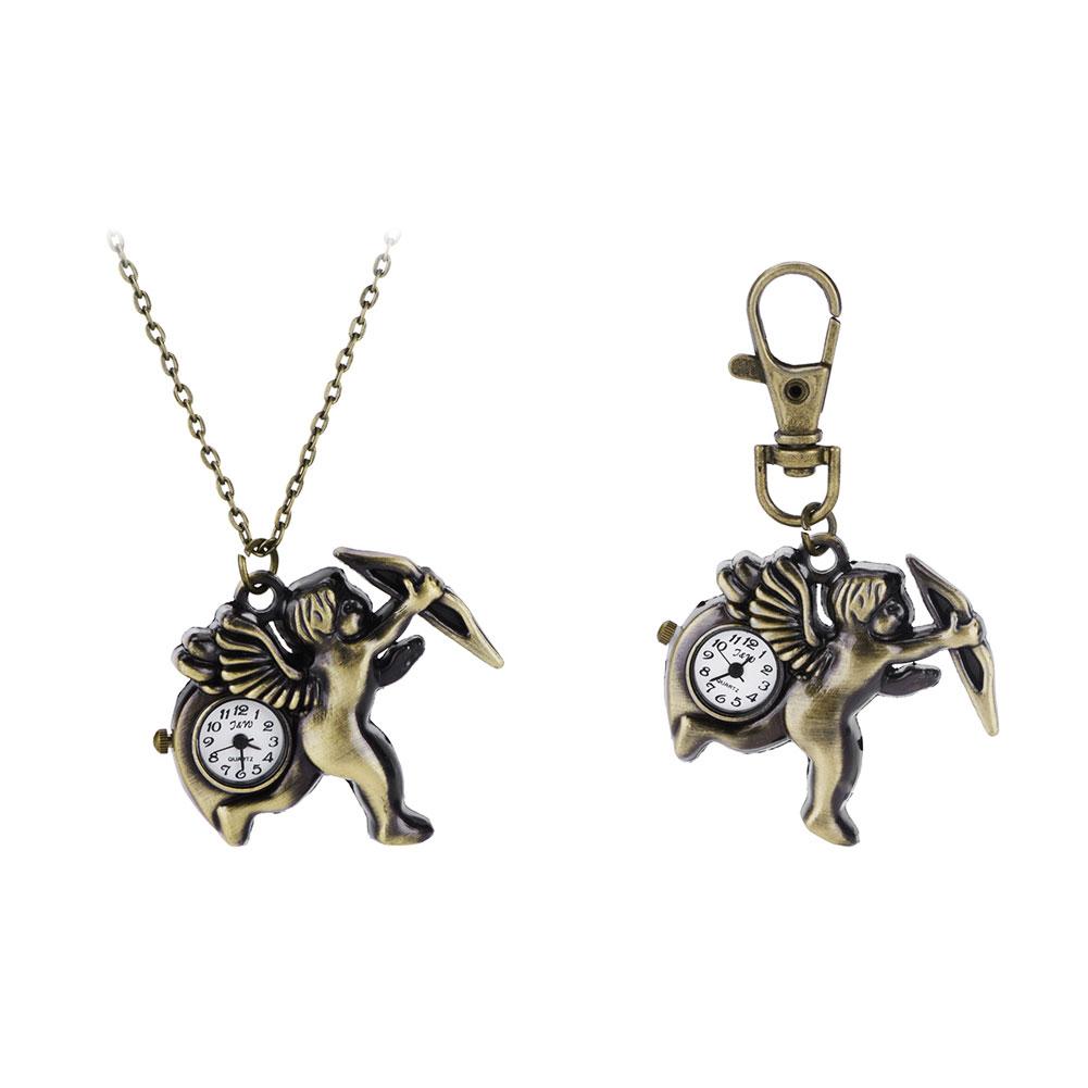 New Fashionable Creative Vintage Cupid Quartz Watches Cupid Quartz Pocket Watch Key Chains Key Rings