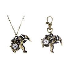 Nueva moda creativa Cupid del Vintage relojes de cuarzo cupido cuarzo reloj de bolsillo de los llaveros llaveros