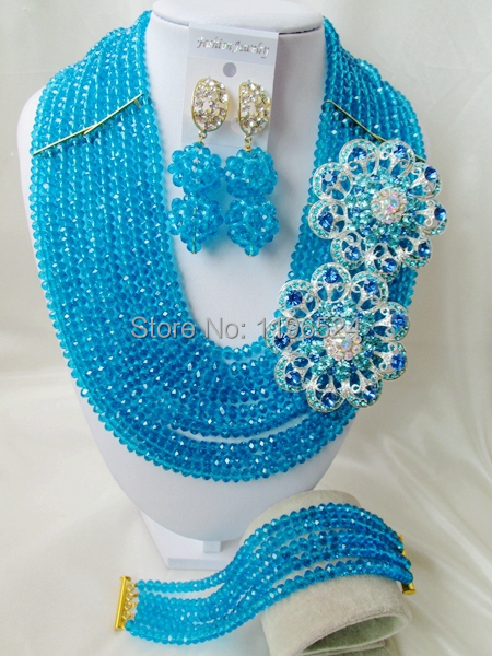 Luxury African Wedding Set Nigerian Crystal Beads necklace Fashion perfect India Women Bridal Jewelry Set Free Shipping C-306<br><br>Aliexpress