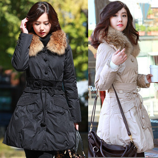 Free shipping 2013 winter new arrival slim large fur collar thickwomen's down coat 0221071307