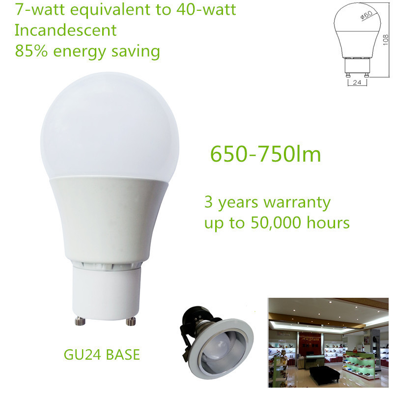 China factory price EPISTAR LED Chips Non Dimmable 90-265V GU24 650-750lm 7W A60 LED BULB(China (Mainland))