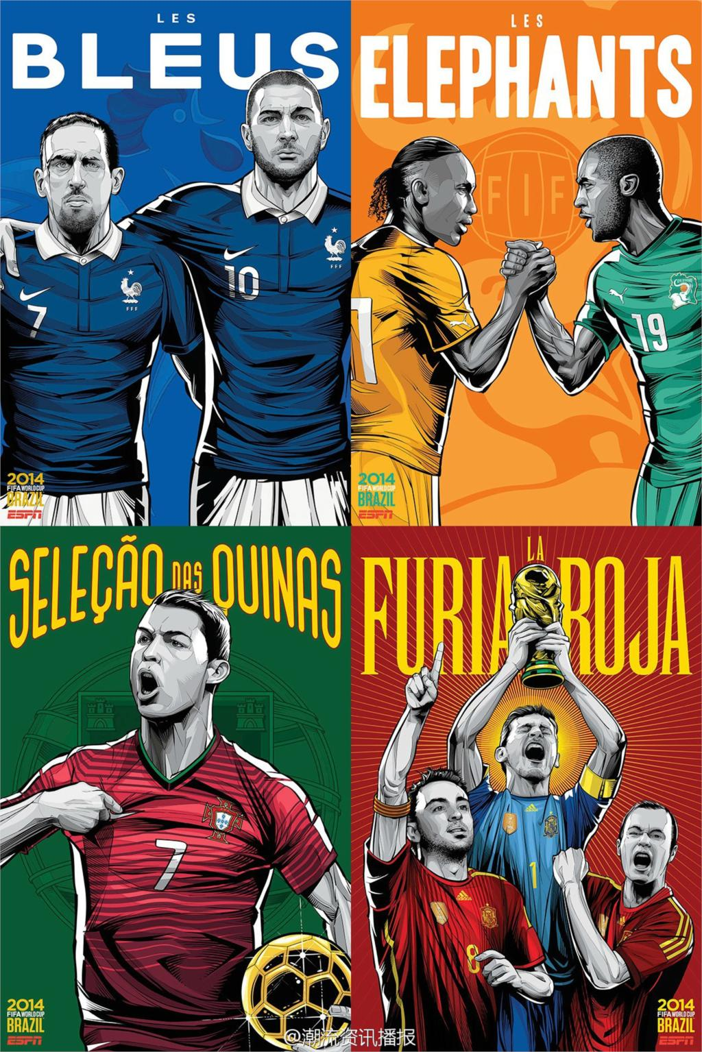 ESPN 32 World Cup Poster Brazil Soccer Football Stars Teams Art Silk Print For Room Deco hot Home Collection (01)(China (Mainland))