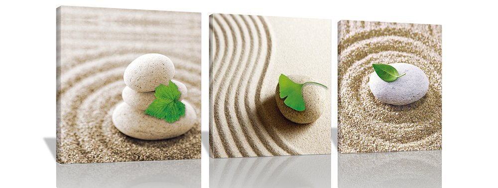 BANMU 3Pcs Prints Artwork Green Leaves on Pebble Beach Pictures Photo Paintings Print on Canvas Wall Art for Home Walls Decor(China (Mainland))