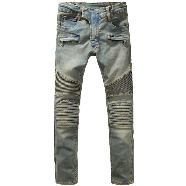 Мужская мода тонкий старинные байкер джинсы свободного покроя толстые супертяжелом ...