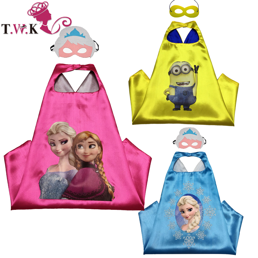 30 pcs / lot anna elsa cap clothes 70cm * 70cm anna elsa child cosplay costume for halloween birthday supplier(China (Mainland))