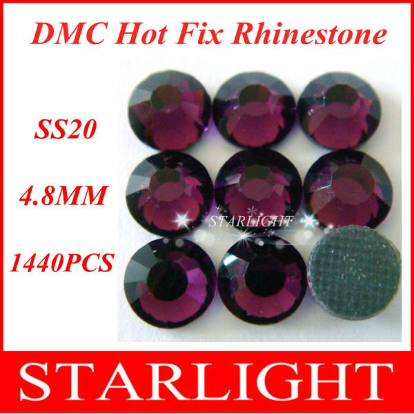 Big Discount !DMC hot fix rhinestone, Amethyst Color SS20,China post air mail free,1440pcs/lot star15(China (Mainland))