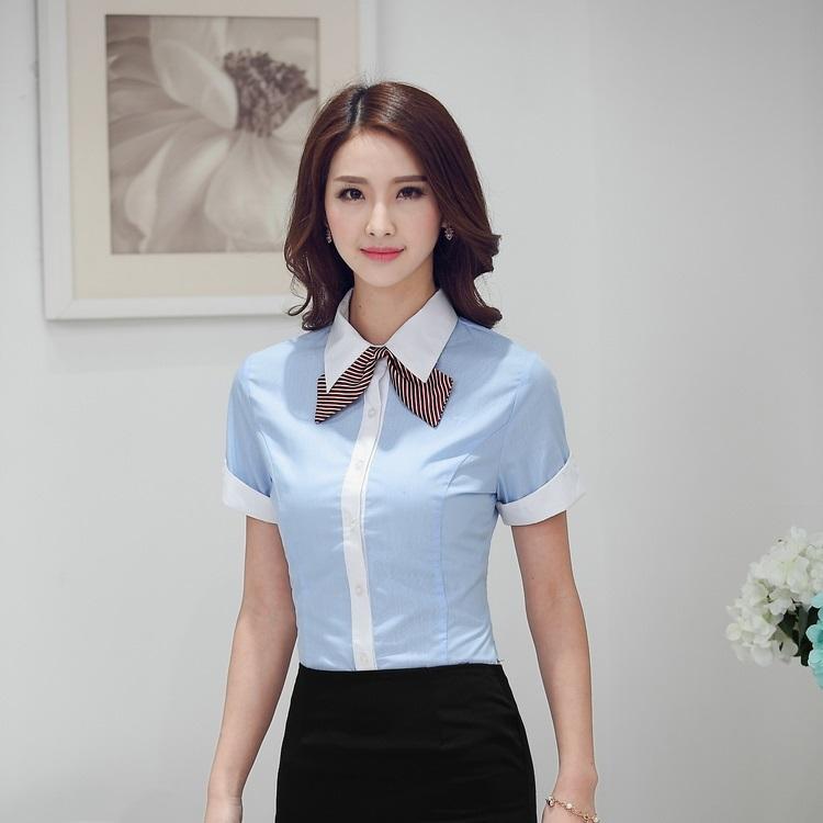 Womens Blue Work Blouses 107