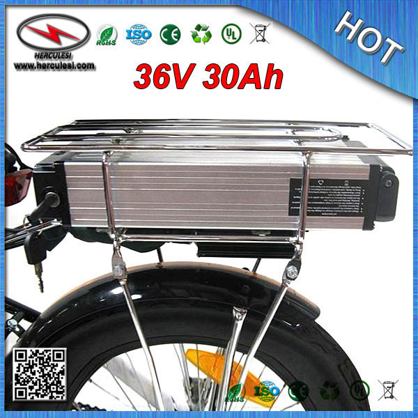 FREE SHIPPING 36V 30Ah Electric Bicycle Battery with Rack Lithium ion Battery 18650 cell 30A BMS 42V2A Charger Wholesale &Retail(China (Mainland))