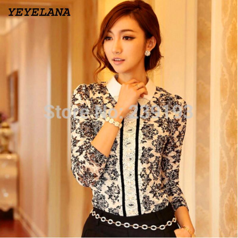 YEYELANA Women Blouses 2017 New Spring Korean Style Fashion Flower Pring Long Sleeve Lace Blouse Ladies Elegant shirts A005(China (Mainland))
