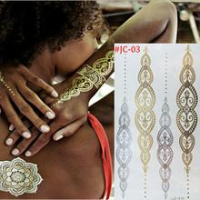 1PCS/New Fashion Metalic tatoo Gold Tattoo Temporary tattoo Flash Tattoos Sex Products Henna Metal Bling Body Paint Stickers