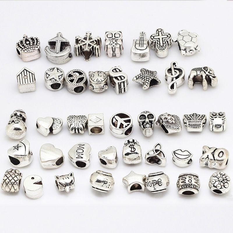 Vintage Big Hole Beads Fit Pandora Charms Antique Silver Metal Zinc Alloy Mixed DIY Beads Charm for Bracelets 40Pcs/lot B8409(China (Mainland))