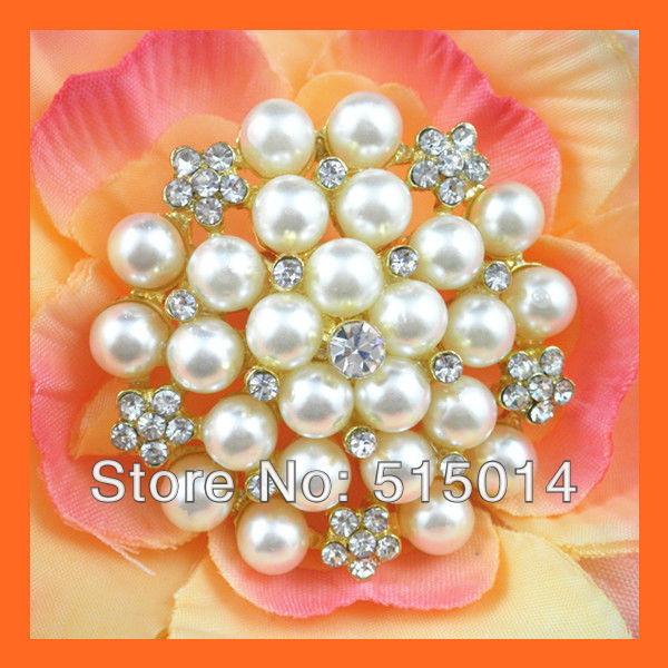 Free Shipping ! 100pcs/lot 45mm Pearl&Rhinestone Brooch Pins ,Gold Plated .Pearl Cluster ,Bouquet Pins ,Wedding  Embellishment