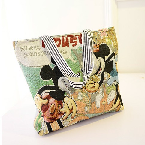 Canvas bag bag of large capacity cute cartoon shopping bags selling package mail fashion single shoulder bag Mickey big bag(China (Mainland))