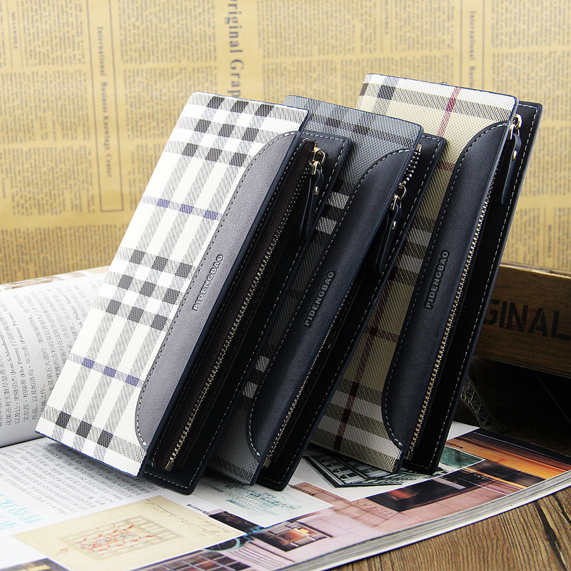 2014 newest classical design Men's long leather wallets brand wallet zipper purse Plaid large capacity Phone bags