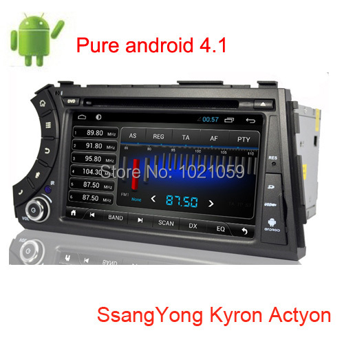 Free shipping pure android 4.1 car dvd gps for SsangYong Kyron Actyon with Capacitive sceen 1GB DDR3 RAM and OBD available(China (Mainland))