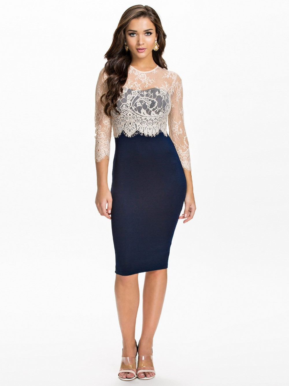 Новые поступления самые мода платье женщина горячая распродажа три четверти рукав вечернее платье высокое качество оболочка миди платье большой sizeR70065