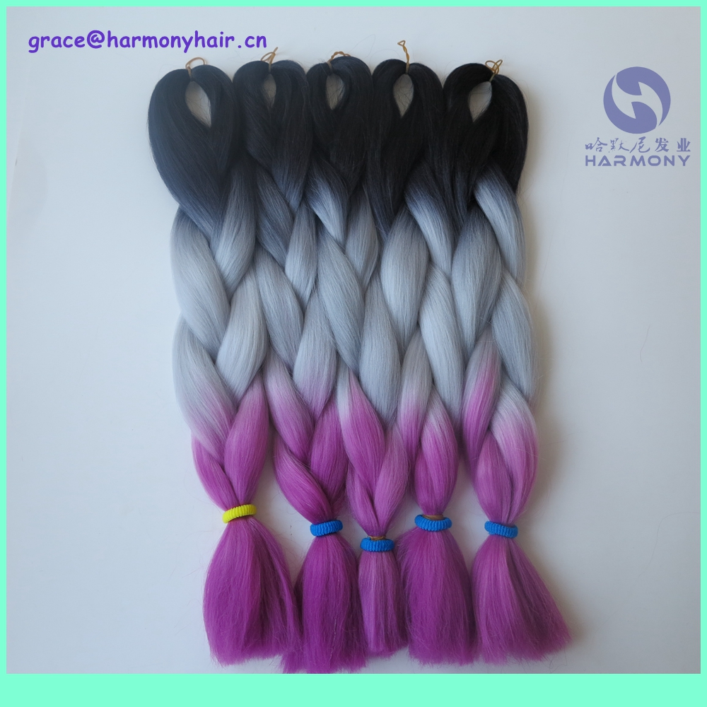 FREE SHIPPING 10packs/lot 24 100g dip dye color synthetic jumbo braid black+light grey+fuchsia ombre color braiding hair<br><br>Aliexpress