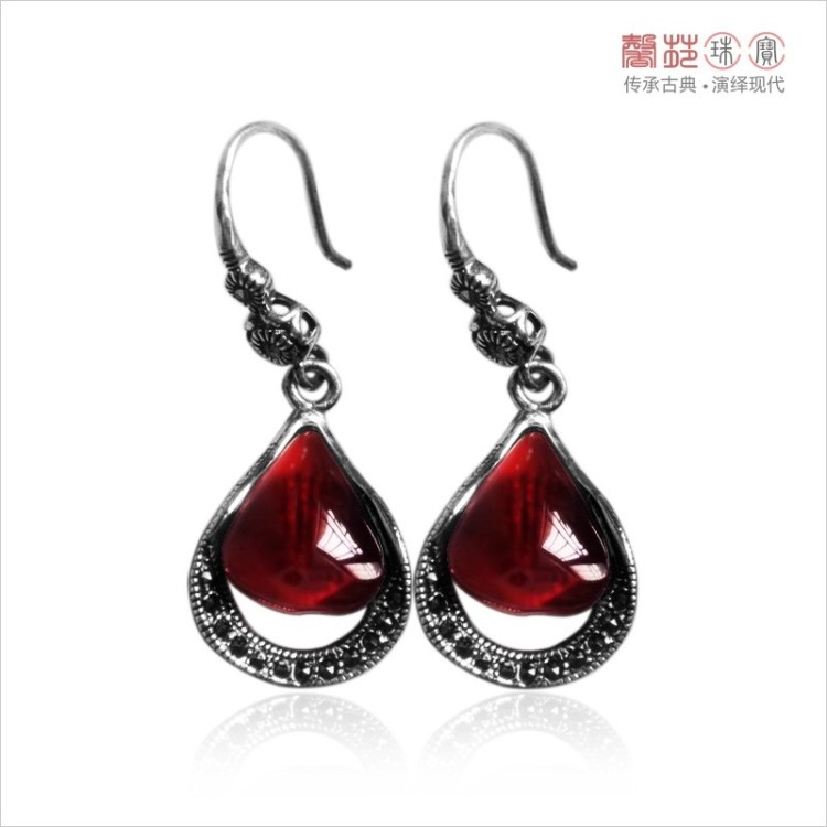 Jewelry 925 pure silver garnet earrings gem accessories vintage drop earring thai silver LAOYINJIANG female accessories(China (Mainland))