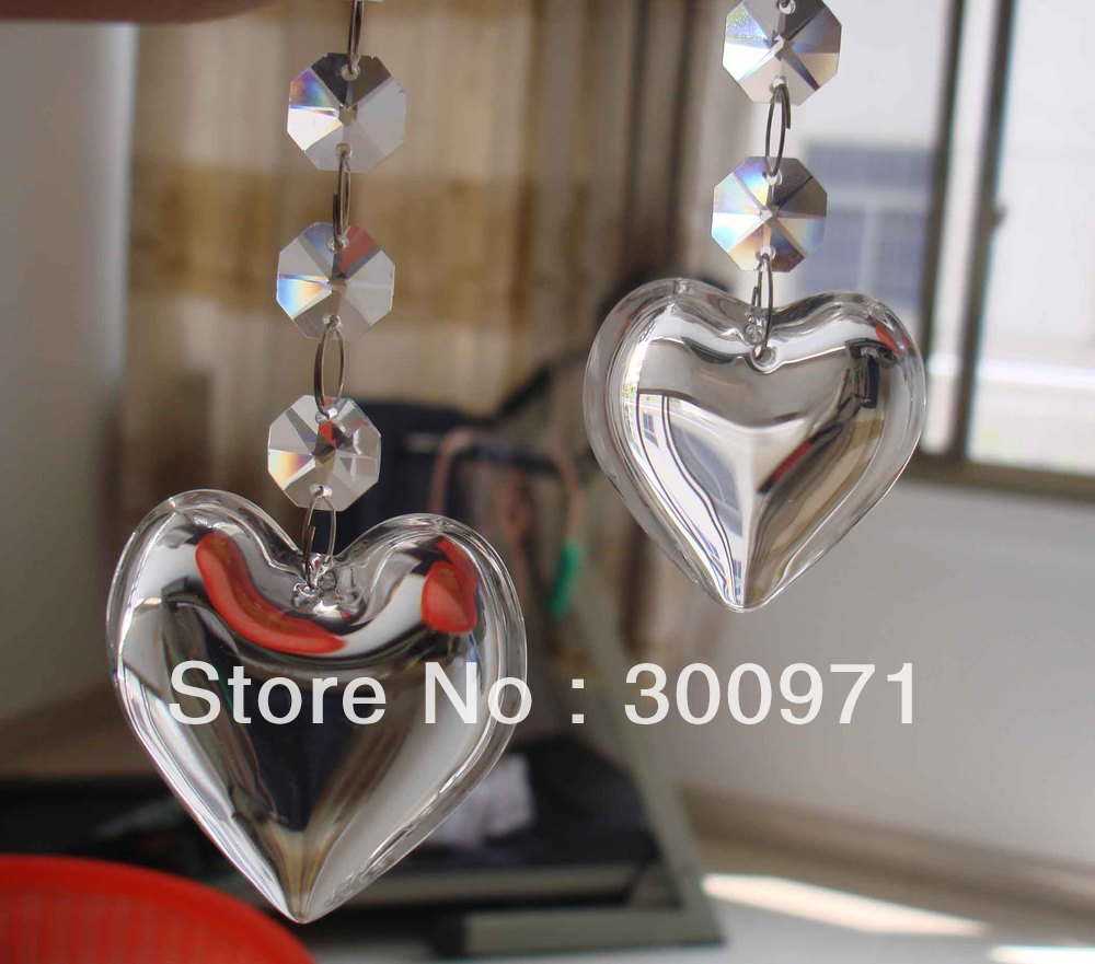 NEW ARRIVAL, HOT PRODUCTS, 42mm Heart shape crystal curtain pendants , crystal chandelier pendants ,(China (Mainland))