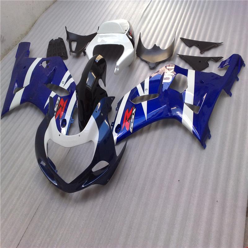 ABS Plastic Injection Mold For Suzuki GSXR 600 750 K1 K2 K3 01 02 03 2001 2002 2003 Motor Fairing Blue Bodywork Brand Logo Decal(China (Mainland))