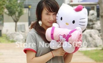 Blanket Hello Kitty Animal Plush Toy 27CM Height with 90cm * 65cm Blanket Super Cheap Big Sale Free Shipping Free Xmas Gift H754