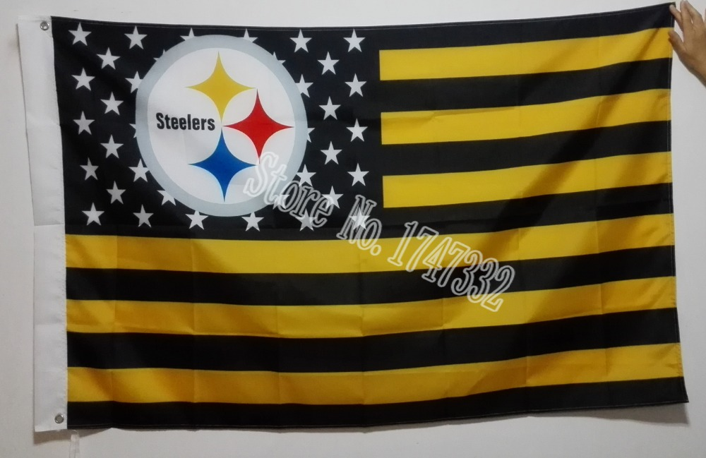 Pittsburgh Steelers NFL Premium Team Flag hot sell goods 3X5 FT 150X90CM Banner brass metal holes PS10(China (Mainland))