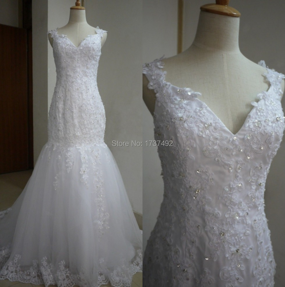 Spring Design Vestidos De Novias Cap Sleeves Lace Mermaid Wedding Dress 2015 Real Photos Formal Bridal Gown - Idea Dresses store