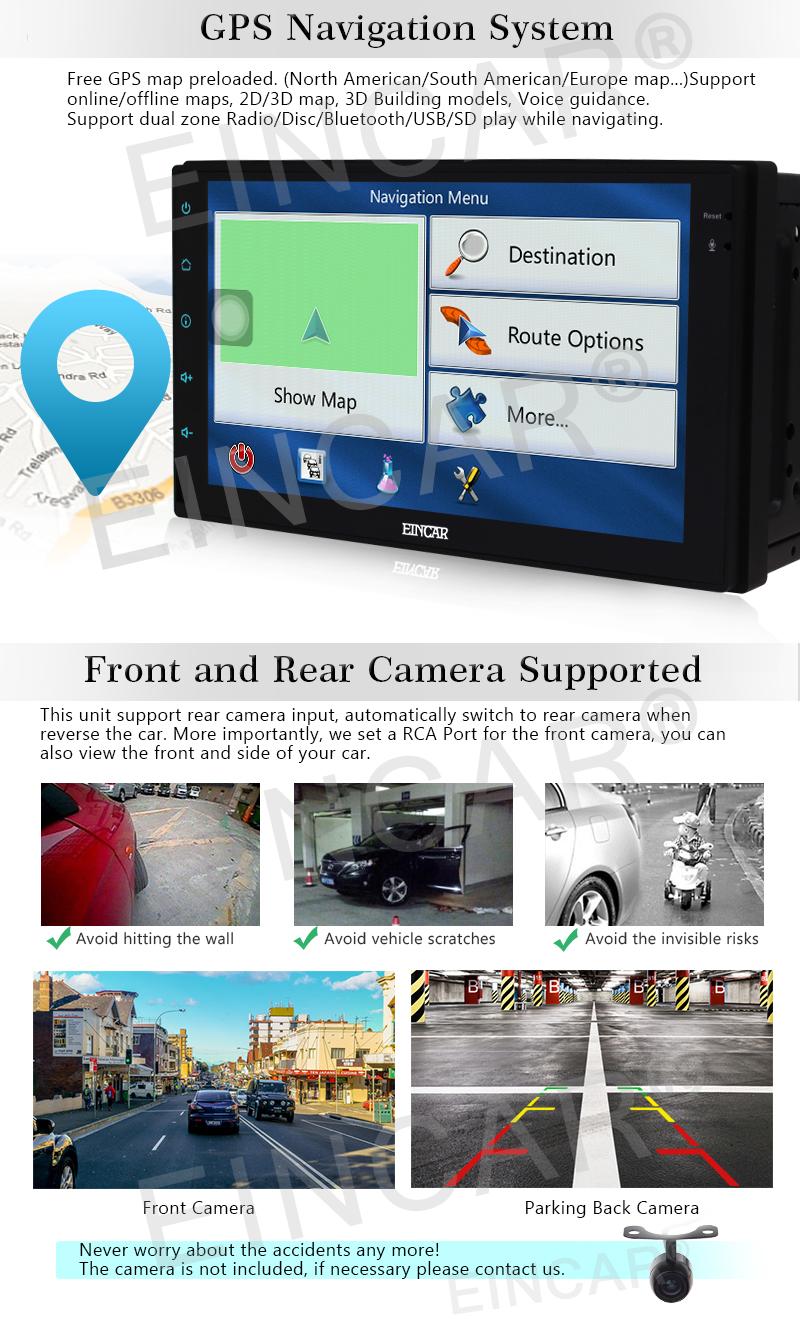 Car Android 6.0 Car Stereo two 2 din Quad-core Autoradio GPS Navigation Audio Video USB SD Wifi Phone Screen Mirror External Mic