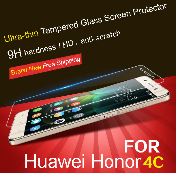 Tempered 9H 2.5D Glass for Huawei Honor 4C Screen Protectors(China (Mainland))