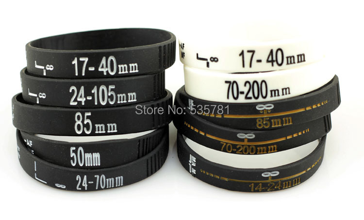 100pcs/lot 2014 new 50mm 24-70mm 70-200mm Camera lens bracelets bangle  silicon wristband photographer gifts souveirs BR053<br><br>Aliexpress