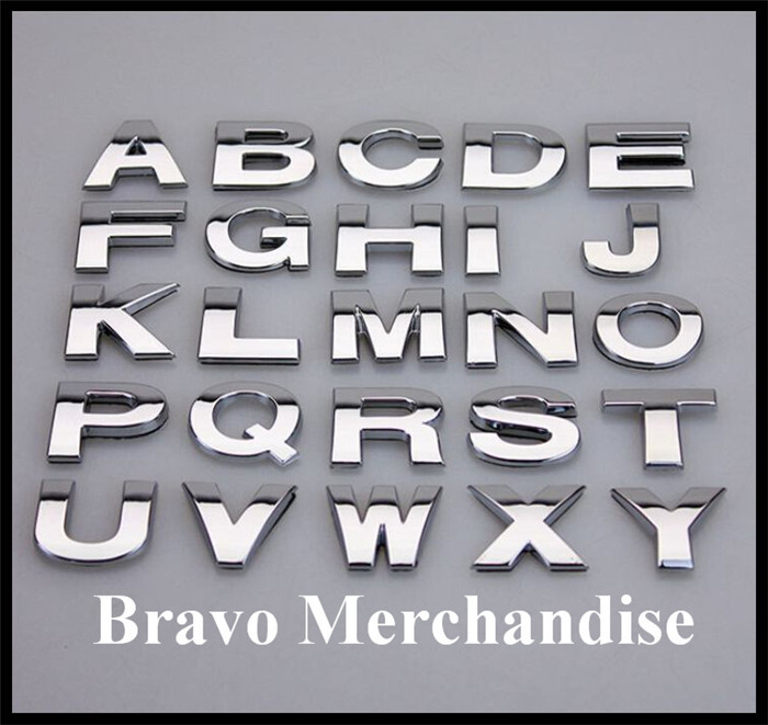 1.17$/PC Chrome 3D ABS 25mm Capital English Letters Numbers Stickers for DIY Personalized Car Logo Emblem Badge(China (Mainland))