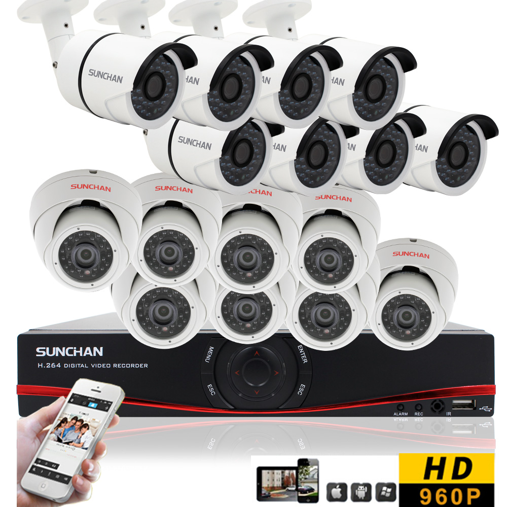 SUNCHAN 16CH CCTV DVR System AHD DVR 720P 1.3 Megapixels 1280*960P Outdoor IR Security Camera 1500TVL Camera Security System<br><br>Aliexpress