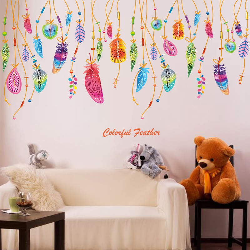 brand 2017 colorful feathers wall sticker diy pvc material creative home decor for kids rooms upscale baby furniture