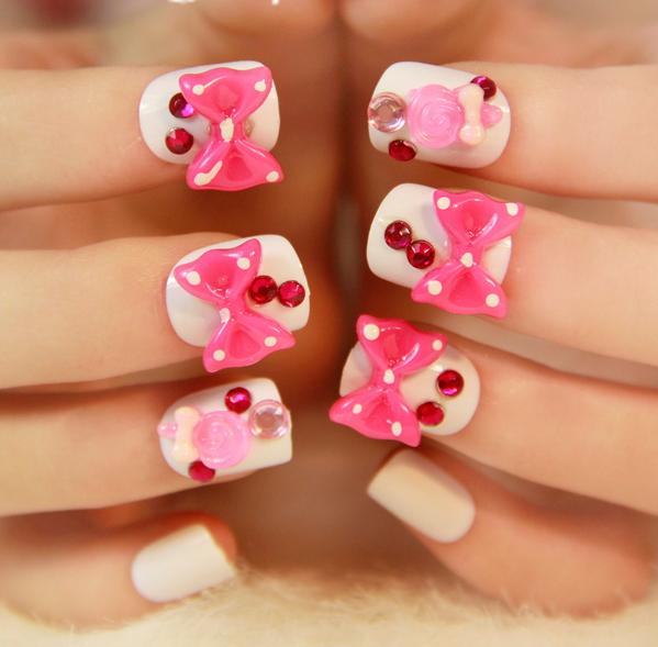 Pink Bow False Nails Tips For Sale,acrylic False Nails Art