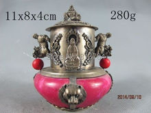 Wonderful chinese handwork tibet-silver buddha old Red jade incense burner(China (Mainland))