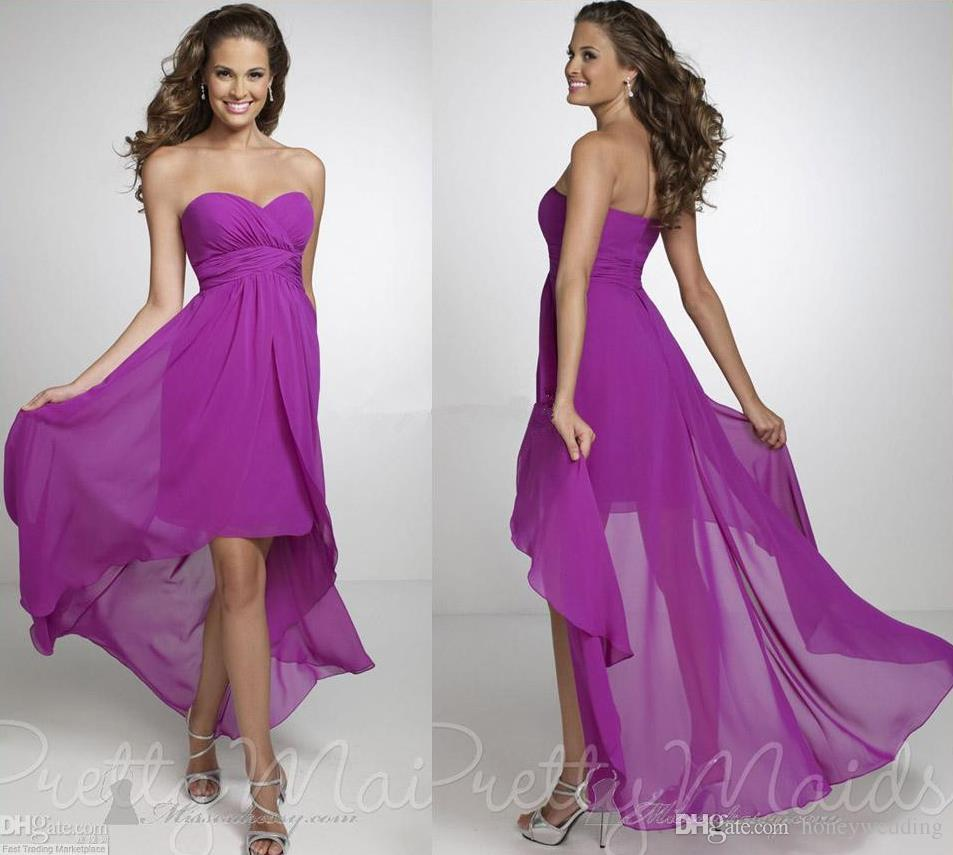 2015 high low purple bridesmaid dresses cheap chiffon for Plus size wedding party dresses