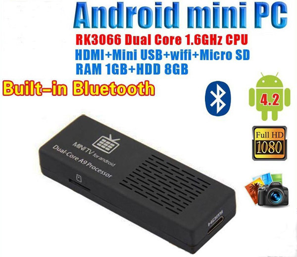 MK808B Mini PC RockChip RK3066 Dual Core Cortex-A9 1.6GHz 1GB / 8GB Android 4.2 HDD Player Google TV Dongle Stick Free Shipping(China (Mainland))