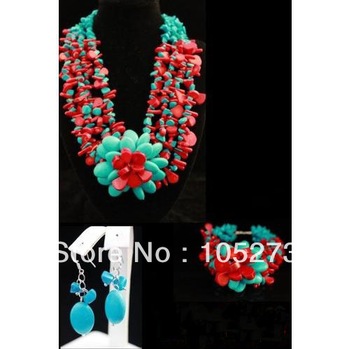 New Arriver Coral Turquoise Jewelry Set 6-20mm Natural Red Coral &amp; Turquoise Flower Necklace Bracelet Earrings New Free Shipping<br><br>Aliexpress