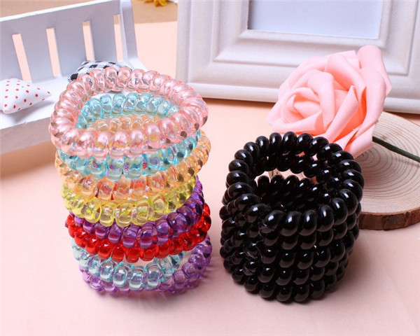 5cm Hair Accessories Headband Telephone Cord Elastic Hair Band Ponytail Holders Hair Ring Silicone Rubber Bands Gum for Hair(China (Mainland))