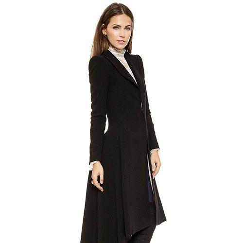 2016 New Arrival Women's Simple Metal Cufflinks Fold Lapel Suit After Tail Wind Coat Overcoat 08WG