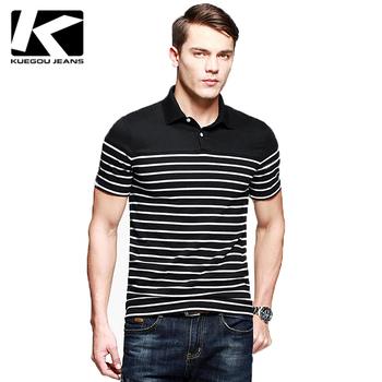KUEGOU Men striped shirt with short sleeves,Male leisure lape polo,MEN Striped polo KPT-7036